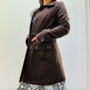 🧥 Tulle Brown Button up Pea Coat XS